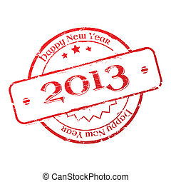 New year 2013 stamp - 2013 New Year Stamp on white...