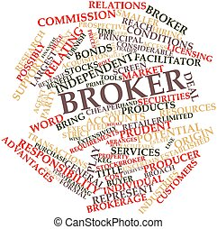 Broker - Abstract word cloud for Broker with related tags...
