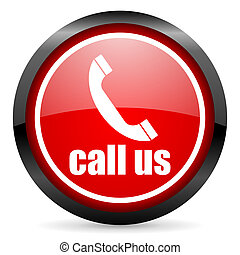 call us round red glossy icon on white background