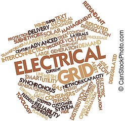 Electrical grid - Abstract word cloud for Electrical grid...