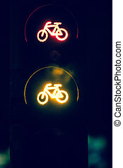 Stop sign bicycle - City semaphore informs red and yellow...