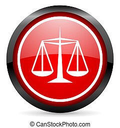 justice round red glossy icon on white background