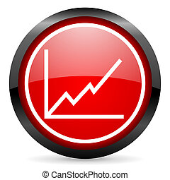 chart round red glossy icon on white background