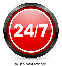 24/7 round red glossy icon on white background