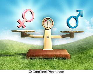 Sex equality - Male and female symbols on a balance scale....
