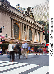 Rush hour at Grand Central, New York - Motion blur of people...