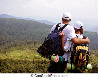 active, activity, admire, - Pair on the hill with panoramic...