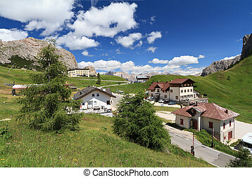 Passo Gardena - Gardena pass - summer view of Gardena pass,...