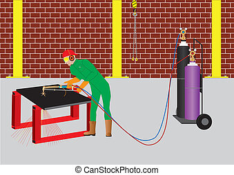 Oxy Acetylene Cutter - Man Oxy Acetylene Cutting a circle...