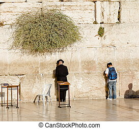 Jews pray at the Western Wall in Jerusalem