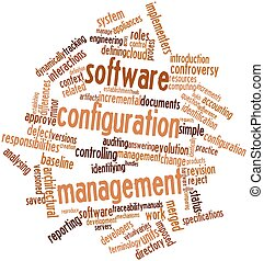 Software configuration management - Abstract word cloud for...