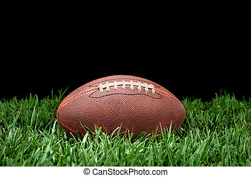 Football in grass - A pigskin football lying in the grass...