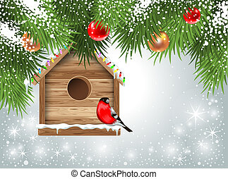 Christmas greeting card with wooden birdhouse