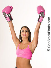 Boxer in Pink - A pretty boxer wearing pink gear