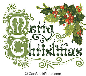 Merry Christmas card - Merry Christmas, lettering in vintage...