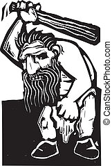 Troll - Giant troll with a huge club rendered in a woodcut...
