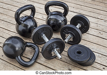 kettlebells and dumbbells - exercise weights - kettlebells...