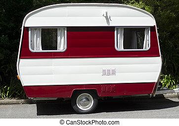 Vintage caravan  - A vintage caravan on the road.