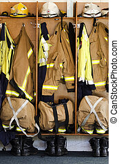 Fire station - Helmets, boots and jackets in a fire station...