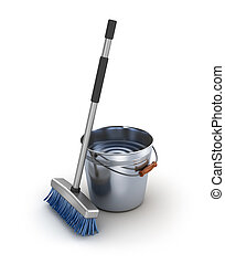 Cleaning equipment Bucket and mop over white