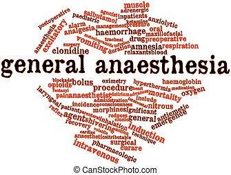 mot, nuage, général, anesthésie