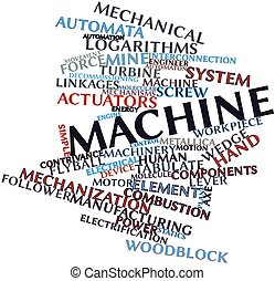 Machine - Abstract word cloud for Machine with related tags...