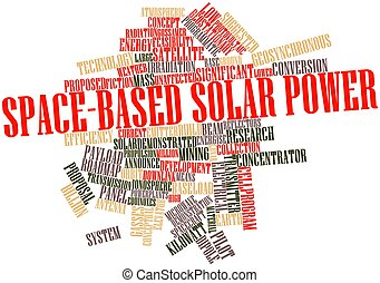 Space-based solar power - Abstract word cloud for...