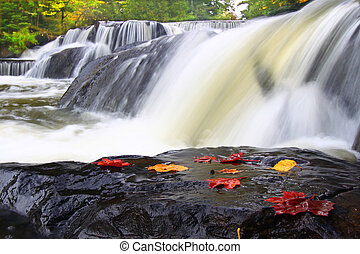 Bond Falls Michigan - Autumn foliage surrounds the cascading...