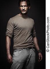 Elegant man in dark place - Elegant man with dark background