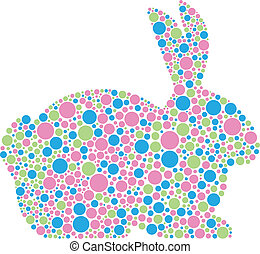 Bunny Rabbit in Pastel Polka Dots - Bunny Rabbit Silhouette...