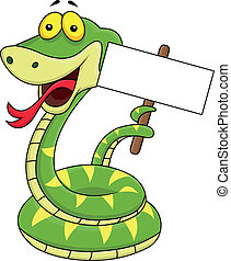 Snake cartoon with blank sign - Vector illustration of snake...