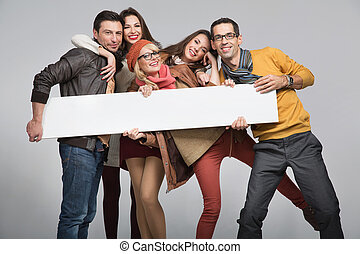 Group of friends want to advertise - Group of young friends...