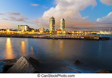 Coastline of Barcelona, Spain - Coastline of Barcelona at...