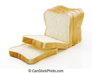Sliced plain bread on white background