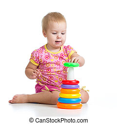 kid girl playing with toy isolated on white background