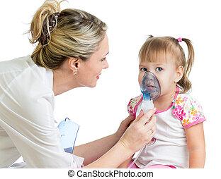 doutor, segurando, inalador, máscara, criança,...