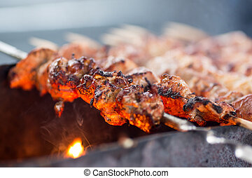 barbecue or fried beef or pork meat