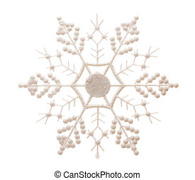 Glittery Snowflake Isolated on White - White Glittery...