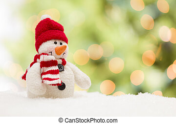 Cute Snowman Over Abstract Background - Cute Snowman Over...