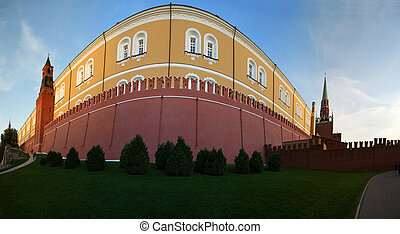 Panoramic image fragment Kremlin wall, Moscow, Russia