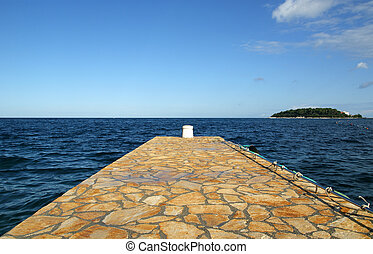 STONE pier for boats and yachts, Croatia; Porec