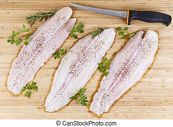 Fresh Fish Fillets with Fillet Knife