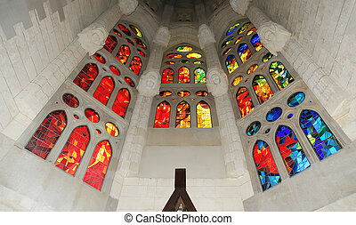 Stained glass window at the entrance of the Sagrada Familia...