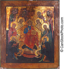 A fragment of ancient icon with the Orthodox motives