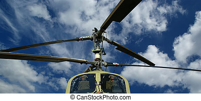 Details of the rotor and part of the body of modern military...