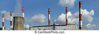 Pipes of coal  burning power station, panorama. Moscow, Russia