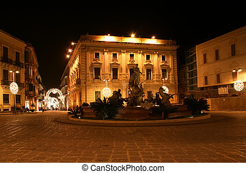 Artemide fountain Syracuse Siracusa, Sarausa-- historic city...