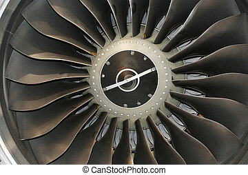 Closeup of a jet turbine Blades of the airplane turbine