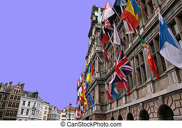 Antwerp, Belgium - Flags of the countries of the Europe...