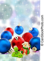 Christmas card with snake and cheerful snowman - Snake in...